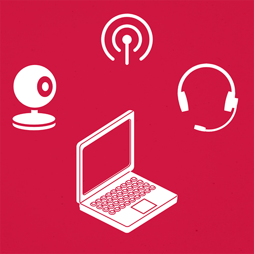 Laptop webcam wireless and headset icons on red background