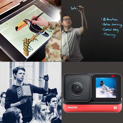 Illustrator drawing on tablet, person using lightboard, person using catchbox, and a 360 camera