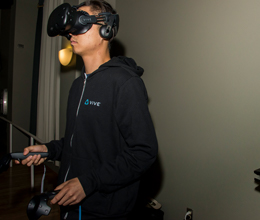 a student uses a virtual reality headset