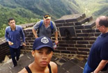 Students walking the Great wall of China.