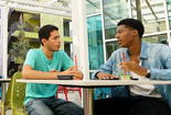 Students talking with each other at CSUN's housing.