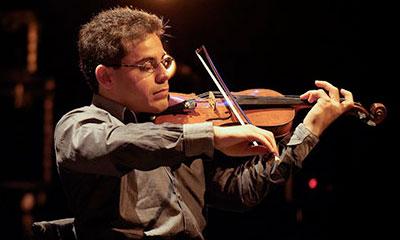 Violinist on stage.