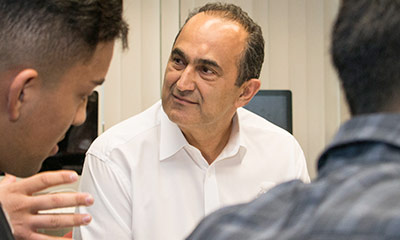 David Nazarian with students.