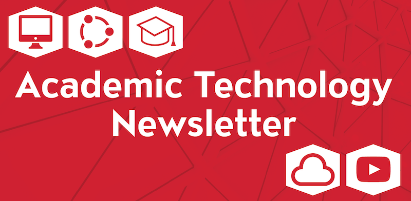 Academic Technology Newsletter with red computer, network, graduation cap, cloud, and video play icons