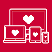 computer laptop tablet and smart phone icons with hearts on the screen