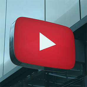 business sign of red youtube play button