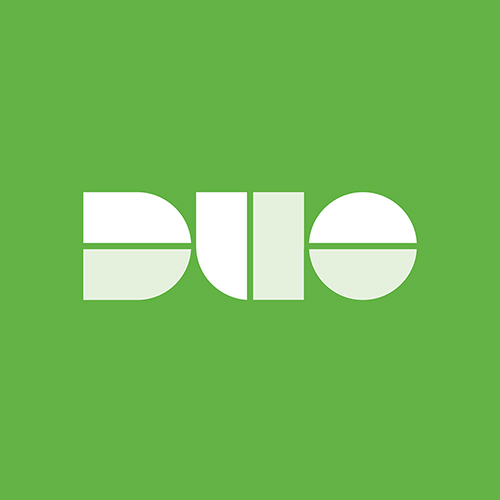 Duo logo against green background
