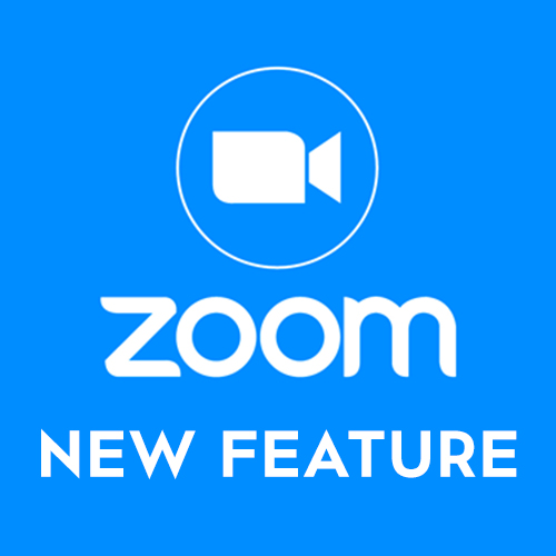 white camera icon above Zoom logo with text New Feature