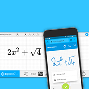 Handwritten equation in the EquatIO mobile app translated into an accessible digital format in the desktop or browser version