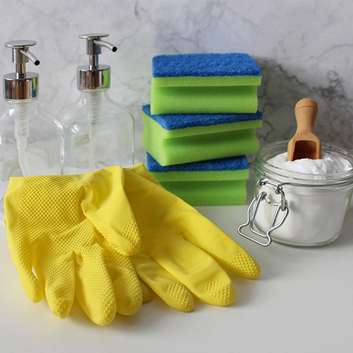 cleaning gloves, sponges, and baking soda