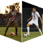 Split image: Alexis White and Giovanni Aguilar each maneuver with a soccer ball.